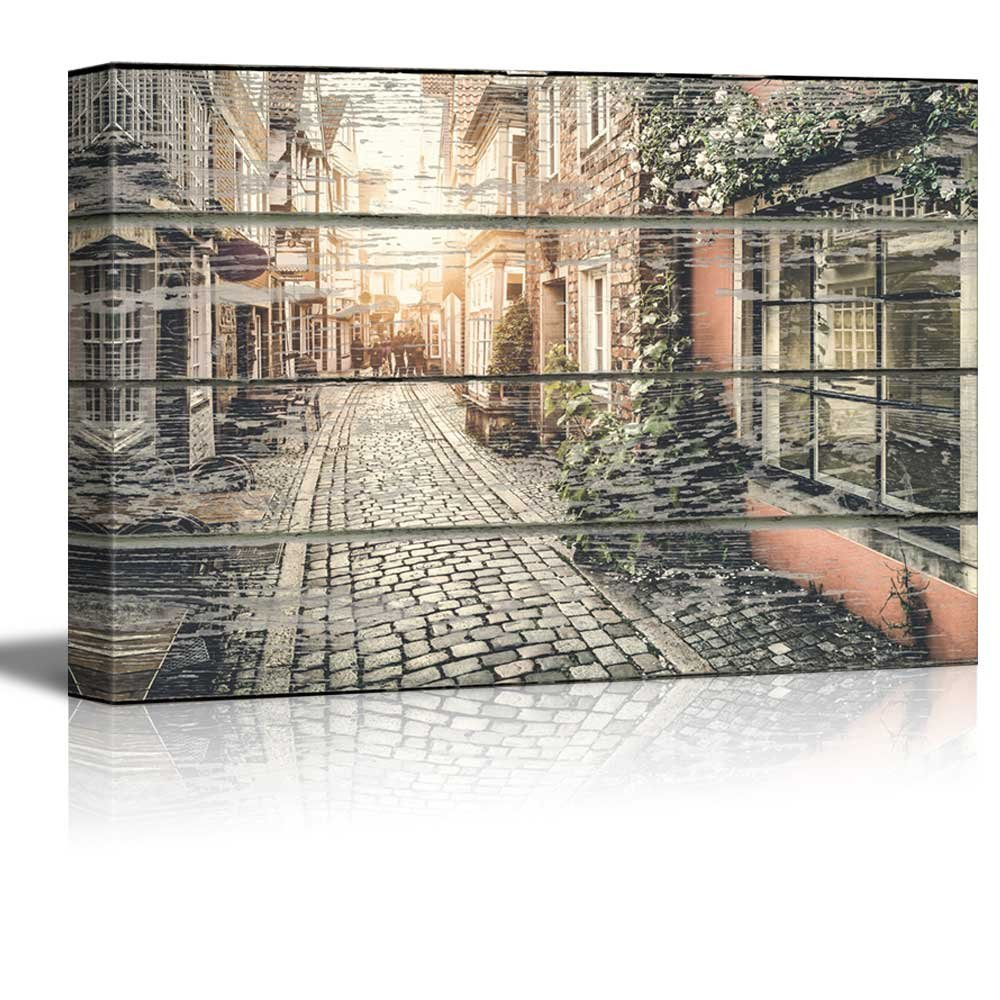 Quiet European Street On Vintage Wood Textured Background Rustic