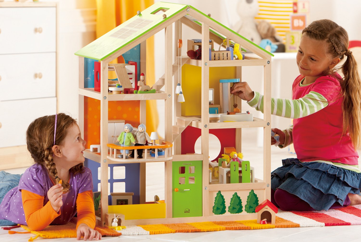 Hape All Seasons Kid's Wooden Doll House Furnished with Accessories by Hape (Image #8)