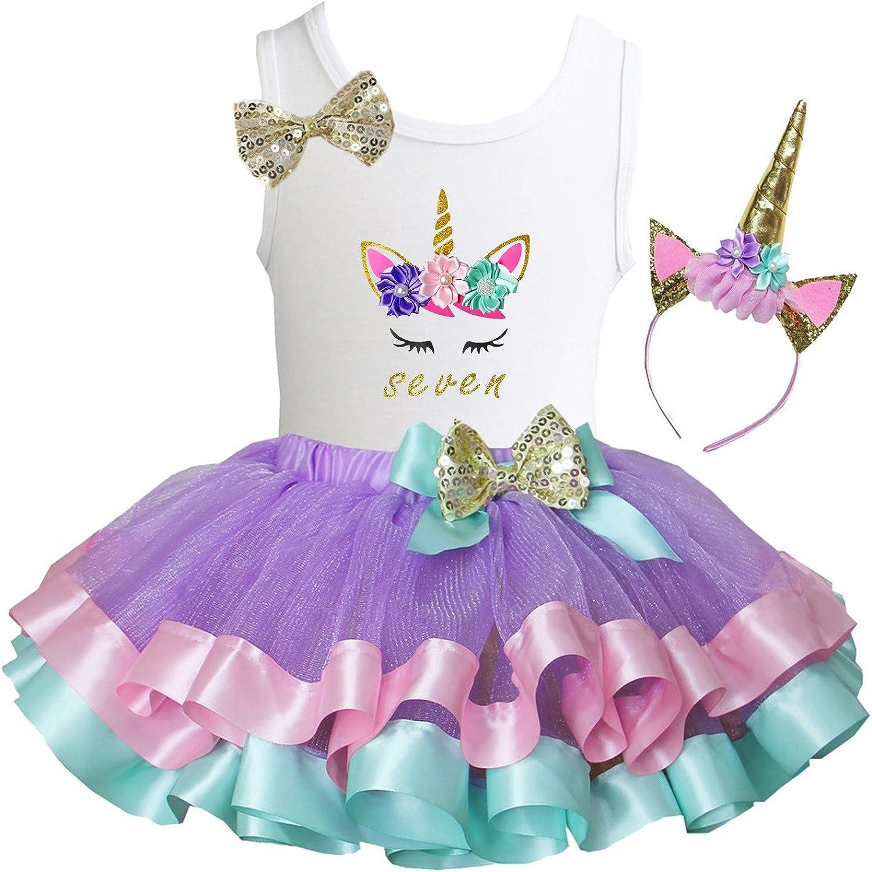 Kirei Sui Girls Lavender Pastel Satin Trimmed Tutu /& Birthday Unicorn Tee