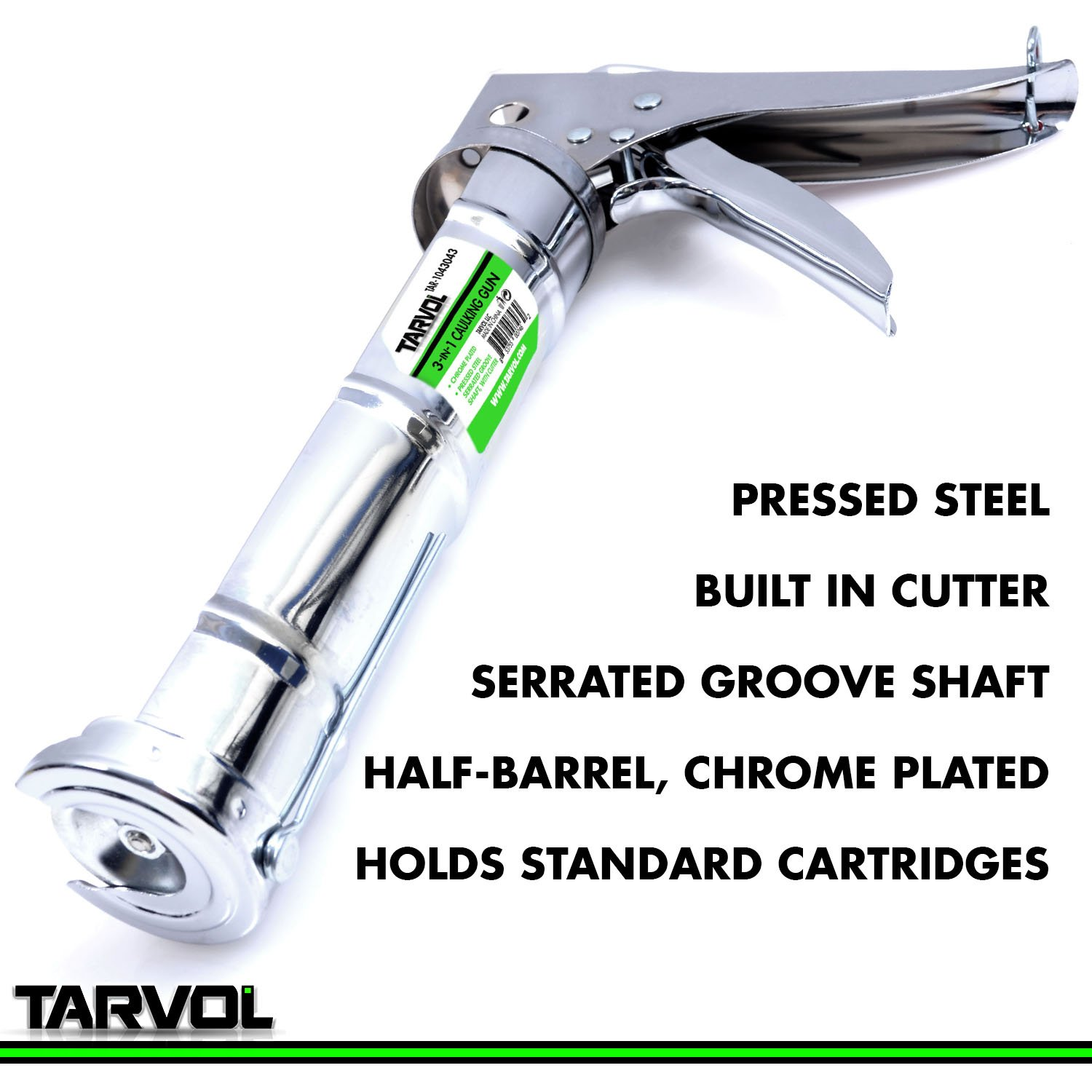 3 in 1 Caulking Gun (HEAVY DUTY CHROME PLATED) Fits Standard Size 10oz Caulk - Refillable 3 in 1 Design Includes Built in Cutter and Puncher Tool - Perfect for Industrial & Home Use! by Tarvol (Image #2)