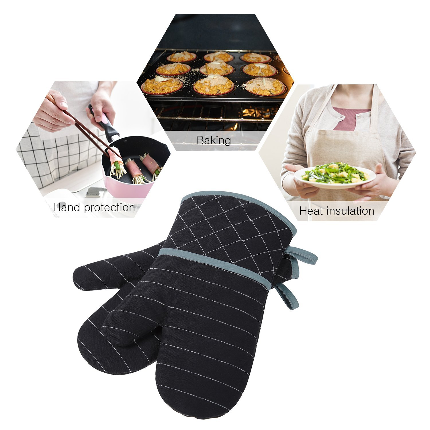 Homever Silicone Oven Mitts, Heat Resistant with Recycled Cotton Infill, Flexibility Non-Slip Kitchen Oven Gloves for Baking and Kitchen (Black)