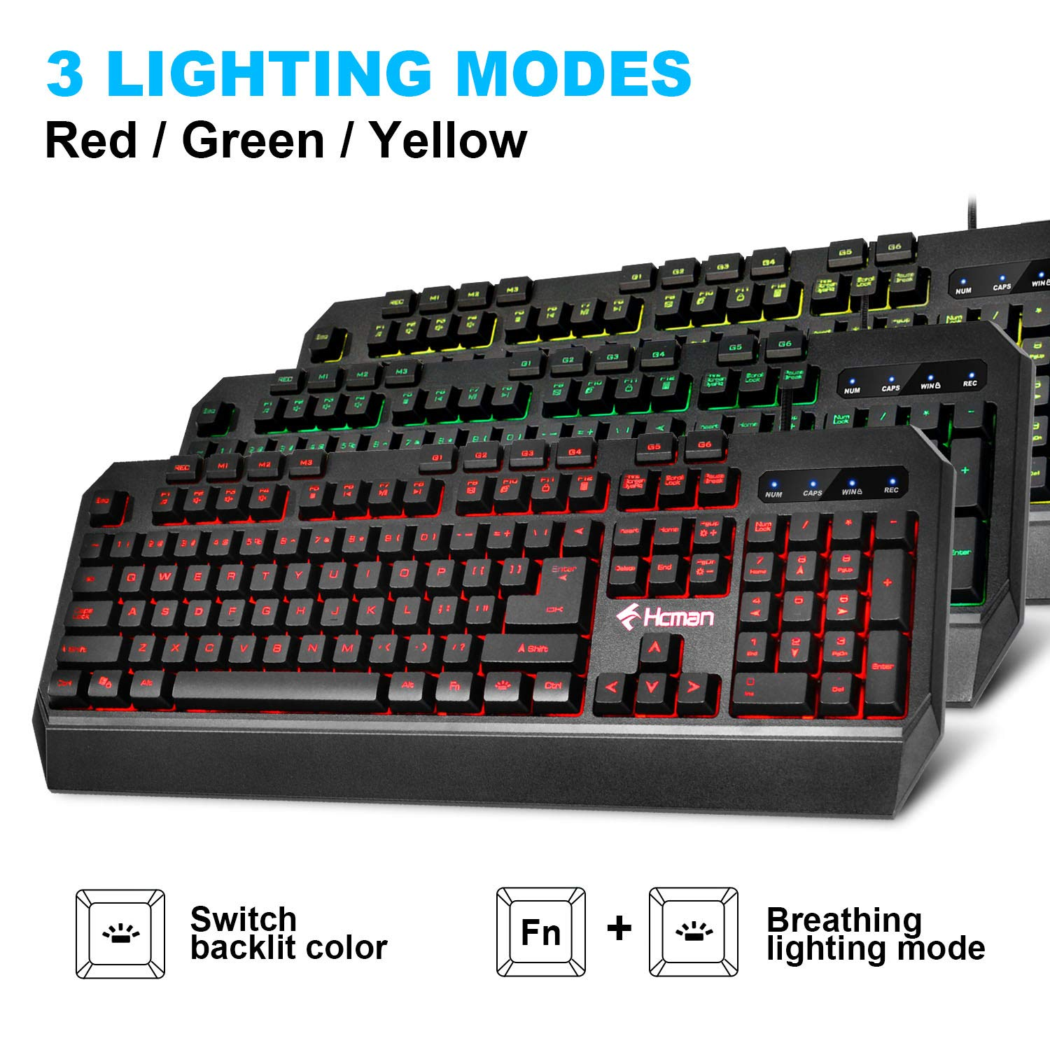 Gaming Keyboard Mouse LED Combo – Hcman 18 Different Macro Keys,Backlit Wired Membrane Keyboard Programmable 7 Buttons 5 DPI Mode USB Gaming Mouse, Support Macro Editor, for PC MAC Computer Gamers