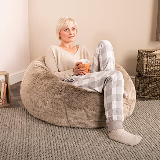ICON XL Panelled Faux Fur Bean Bag Chair