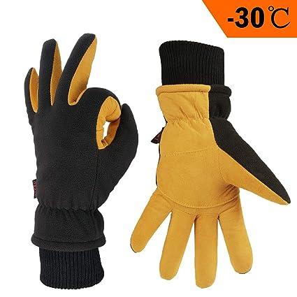 43223fd0fa501b OZERO Winter Lederhandschuhe,Thermo-Handschuhe für Herren und Damen,1 Paar