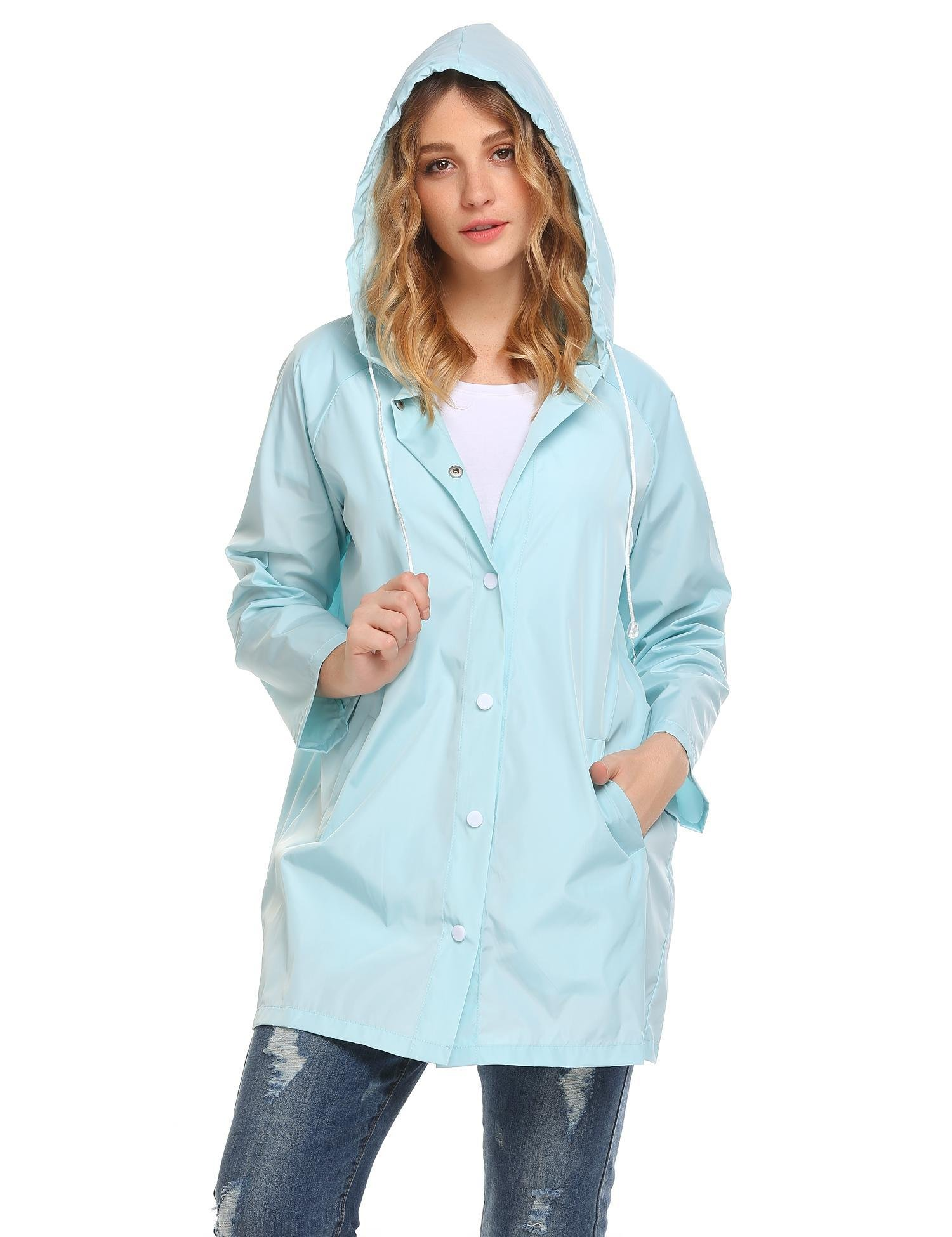 SoTeer Women Waterproof Lightweight Rain Jacket Outdoor Hooded Raincoat(Light Blue-XXL)