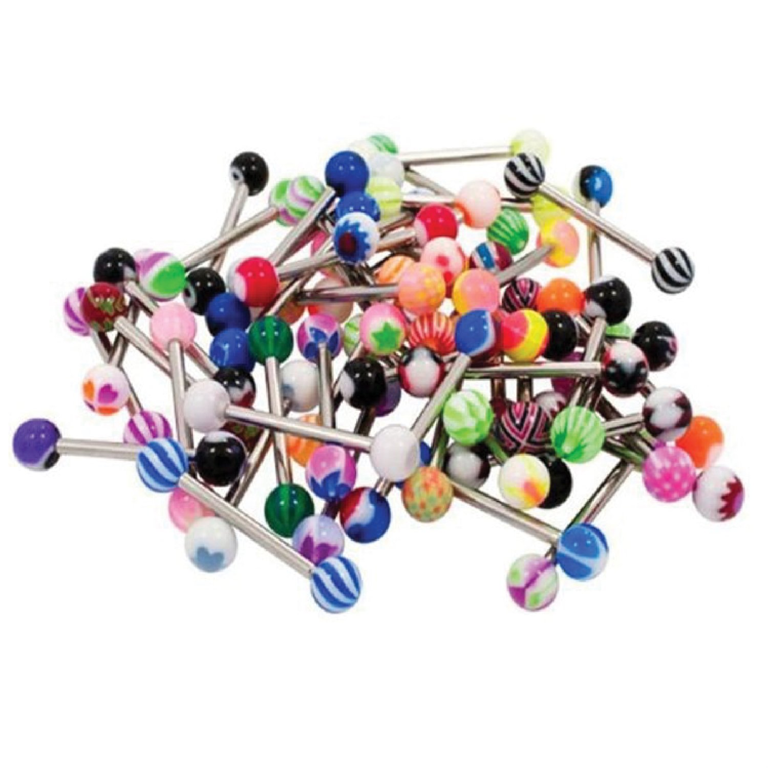 BodyJ4You Tongue Ring Assorted Lot of 20 Surgical Steel Piercing Barbells 14 Gauge No Duplicates (20 Pieces) BR3147