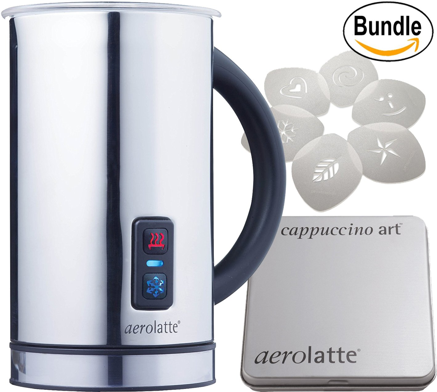 aerolatte Compact Automatic Hot or Cold Milk Frother and Cappuccino Foam Maker (11-1/2-Ounce), Stainless Steel & aerolatte Cappuccino Art Stencils, Set of 6 Bundle