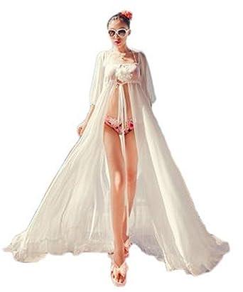 e2963a1970 VIGVOG Women s Sexy Summer Bikini Cover Up Chiffon Transparent Maxi White  Sarong Long Beach Dress  Amazon.co.uk  Clothing