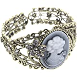 Kobwa(TM) Carving Queen Statue Bangle Maiden Cuff Cameo Bracelet with Kobwa's Keyring