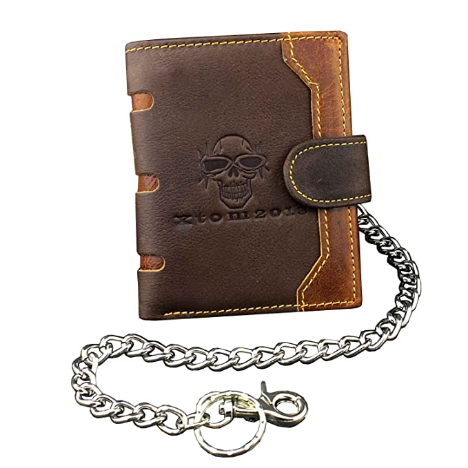 Skull Biker Hasp Genuine Leather Wallet Purse With Pants Chain