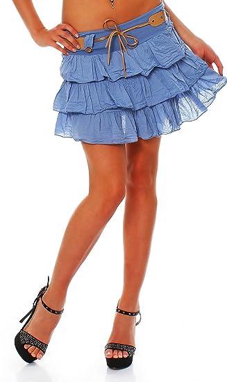 Italy Style - Falda - para Mujer Azul Claro Talla única: Amazon.es ...