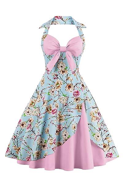 Las Mujeres Vestido De Estampado Floral Vintage Retro Años 50 Picnic Tea Party Dress: Amazon.es: Ropa y accesorios