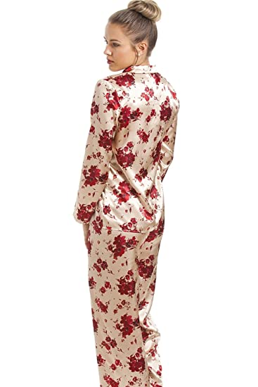84306d158d Camille Womens Rose Red Floral Print Full Length Gold Satin Pyjama Set 8   Amazon.co.uk  Clothing