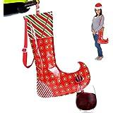 Christmas Stocking Flask Wine Dispenser- Large Party Sock w/Shoulder Strap (Holds 3 Bottles)- Funny White Elephant Gifts…