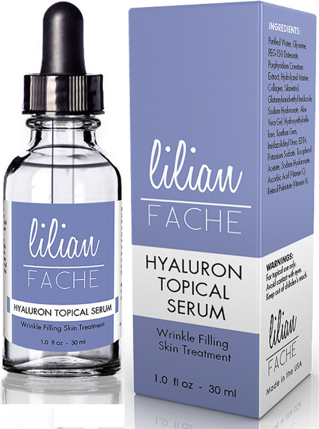 Wrinkle Filling Hyaluron (Hyaluronic Acid) Topical Serum From Lilian Fache - Highest Quality - Anti Aging Formula 30ml by Lilian Fache