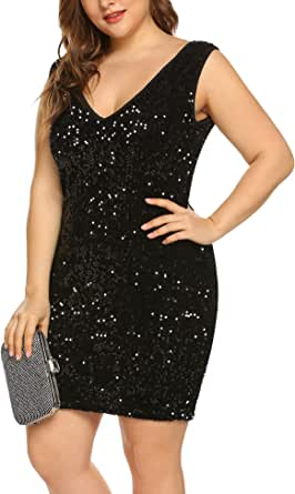 IN'VOLAND Womens Sequin Dresses Plus Size Sexy Party Cocktail Bodycon Formal Prom V Neck Summer Sleeveless Dress