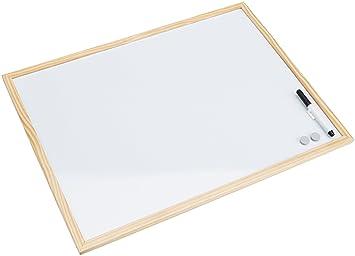 Bi-Office Budget - Pizarra blanca magnética con marco de madera de pino, 60 x 45 cm
