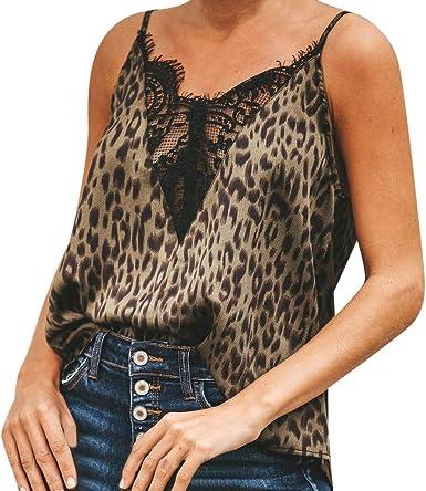 Lenfesh Blusa De Fiesta Mujer Camisa con Tirantes Verano Camisetas para Mujer Blusa Sin Mangas Chaleco De Encaje Tops: Amazon.es: Ropa y accesorios