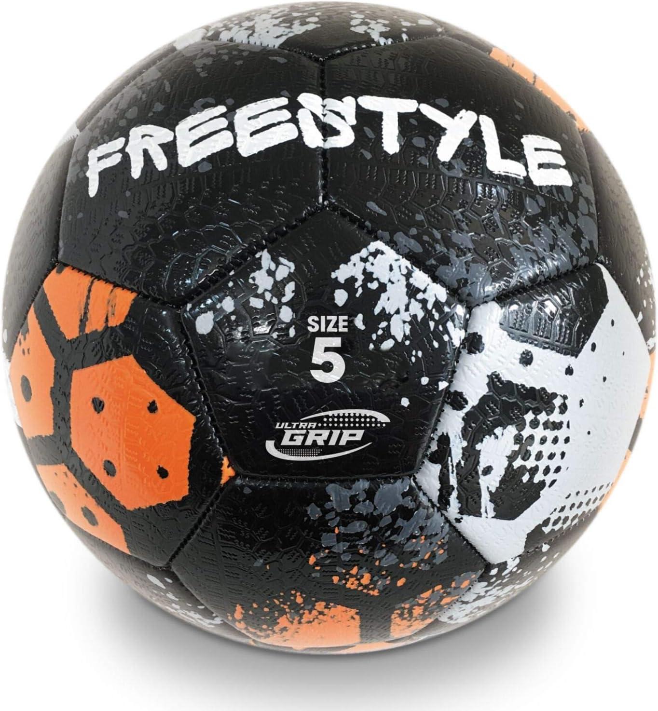 13862 Multicolore Italia Toys-Pallone da Calcio Cucito Freestyle Tyre-Size 5-400 g-Colore nero//grigio//arancione-13862 Mondo