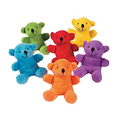 Fun Express Primary Plush Bears (1 Dozen): Toys & Games
