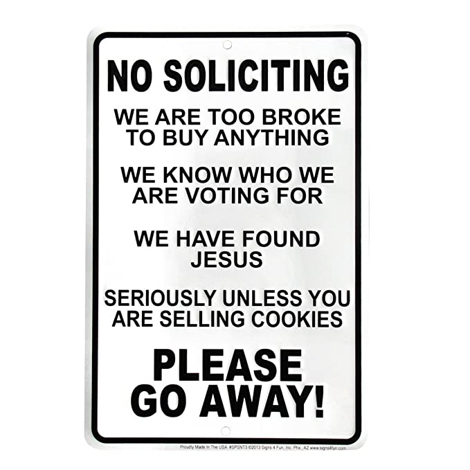 photograph regarding Funny No Soliciting Sign Printable identified as TG,LLC Humorous No Soliciting Transfer Absent Entrance Doorway Indication
