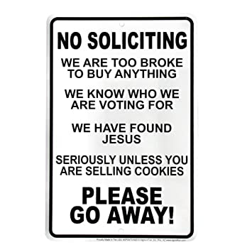 Funny No Soliciting Go Away Front Door Sign  sc 1 st  Amazon.com & Amazon.com: Funny No Soliciting Go Away Front Door Sign: Home ... pezcame.com