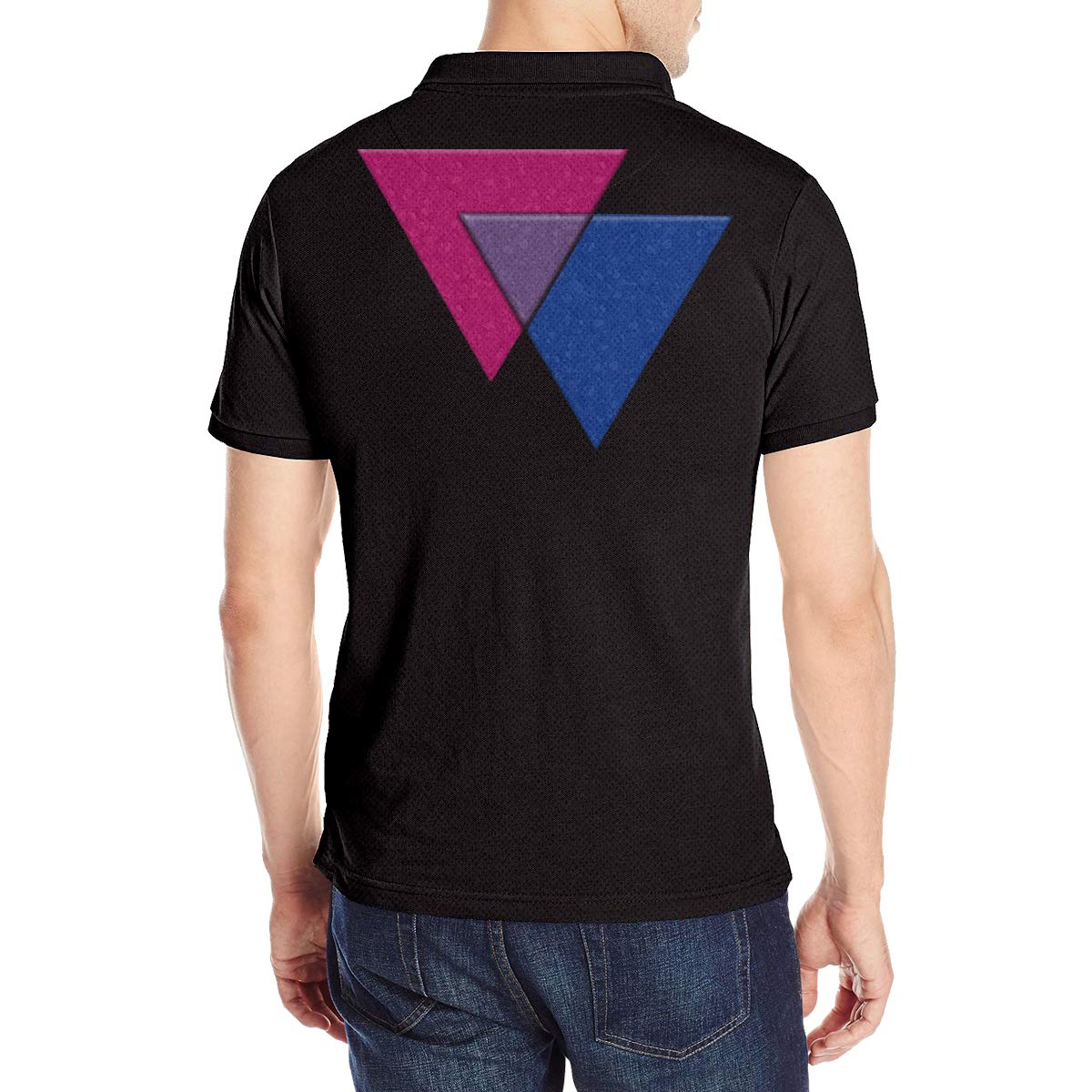 Bisexual Pride Triangles in Pride Flag Mens Soft Short Sleeve Polo T-Shirts