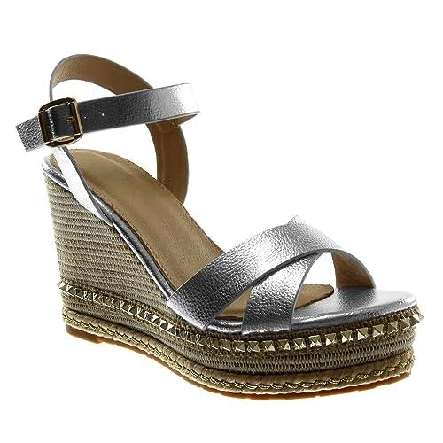 argento 38 EU Angkorly Scarpe Moda Sandali Mules Zeppe con Cinturino Alla l00