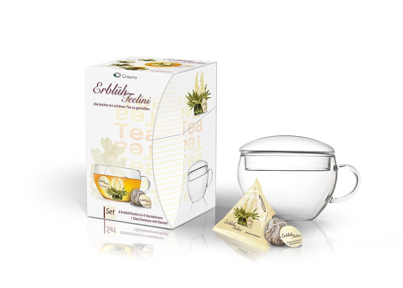 Creano ErblühTeelini Teeblumen Geschenkset mit Teeglas und 8 Teeblumen im Tassenformat