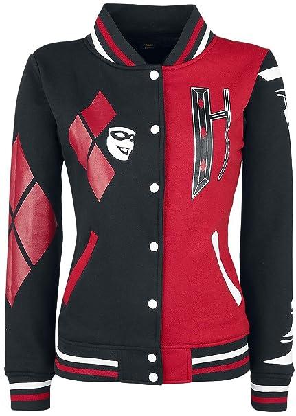 Harley Quinn Harley Cazadora universitaria americana Mujer negro/rojo, Negro-Rojo, XX-Large: Amazon.es: Ropa y accesorios