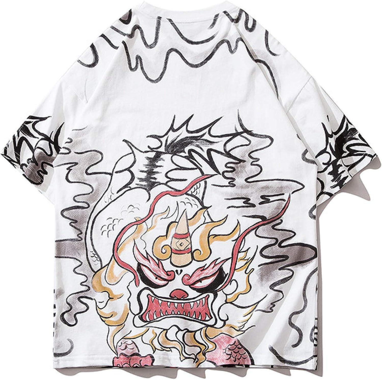 DREAMING-Unicornio Camiseta de Manga Corta para Hombres y Mujeres Camiseta de algodón de Cuello Redondo con Estampado Suelto Camiseta de Pareja Superior Summer Hit Bottoms