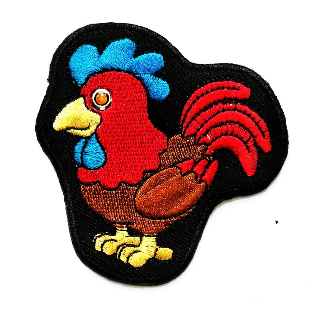 Nipitshop Patches Rooster cockerel Cock Chicken Bird Cartoon Iron On Patches Cartoon Embroidery 222 Badges for Sewing Kids Clothing