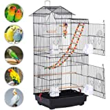 Yaheetech Large Metal Bird Cage Parrot Cockatiel Conure Parakeet Budgie Finch Lovebird Pet Roof Top Bird Cage with Toys