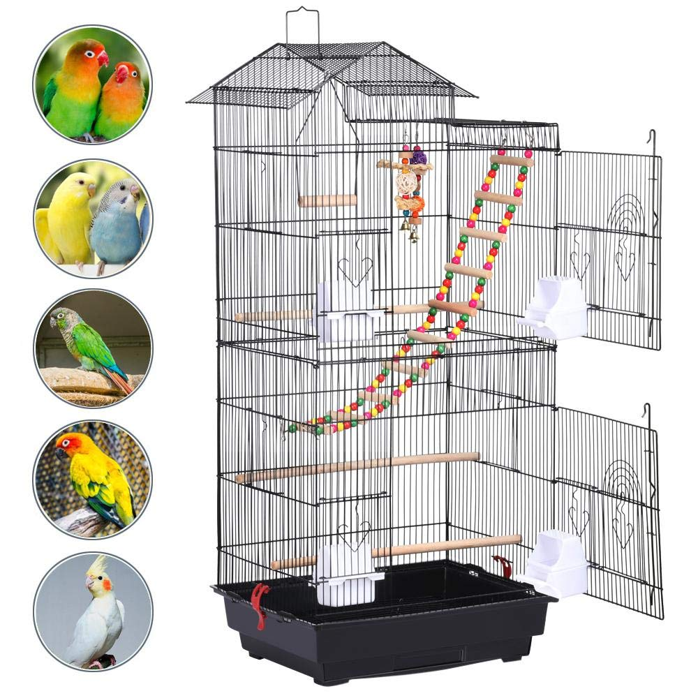 Yaheetech Roof Top Large Parakeet Flight Bird Cage for Mid-sized Parrots Cockatiels Sun Conures Green Cheek Parakeets Budgies Lovebird Parrotlets Canary Finch Pet Bird Cage w/1 Ladder & 2 Hanging Toys by Yaheetech