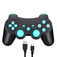 Wireless Dual Shock Controller for Sony PS3/ Raspberry Pi 3, SIXAXIS Gamepad Remote for Sony Playstation 3 DualShock 3 - Charge and Play Cable Included