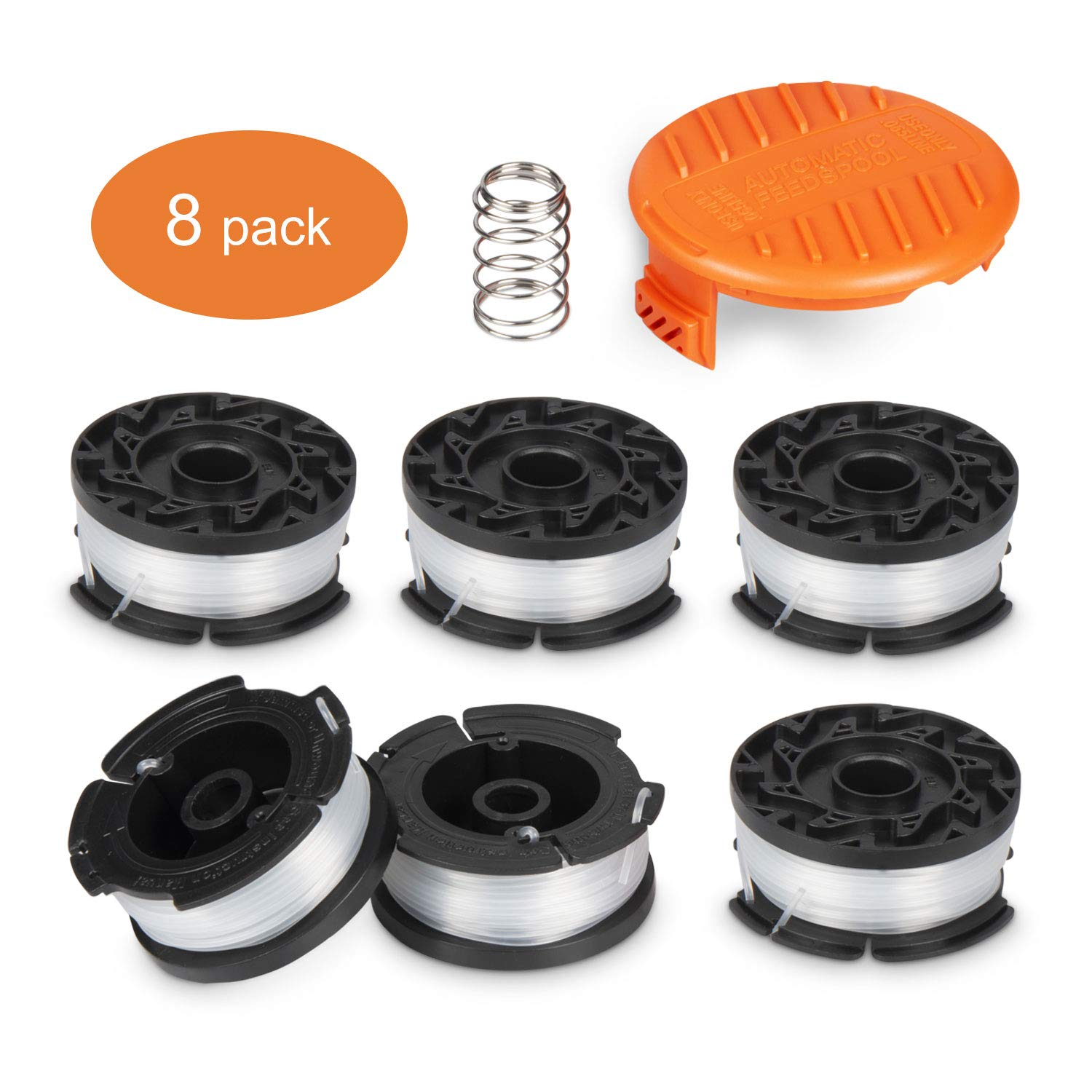 Deyard Trimmer Spool Autofeed System Replacement Durable AF-100 String Trimmer Edger, 30ft 0.065 inch Line String Trimmer (6 Replacement Spool, 1 Spool Cap, 1 Spring)