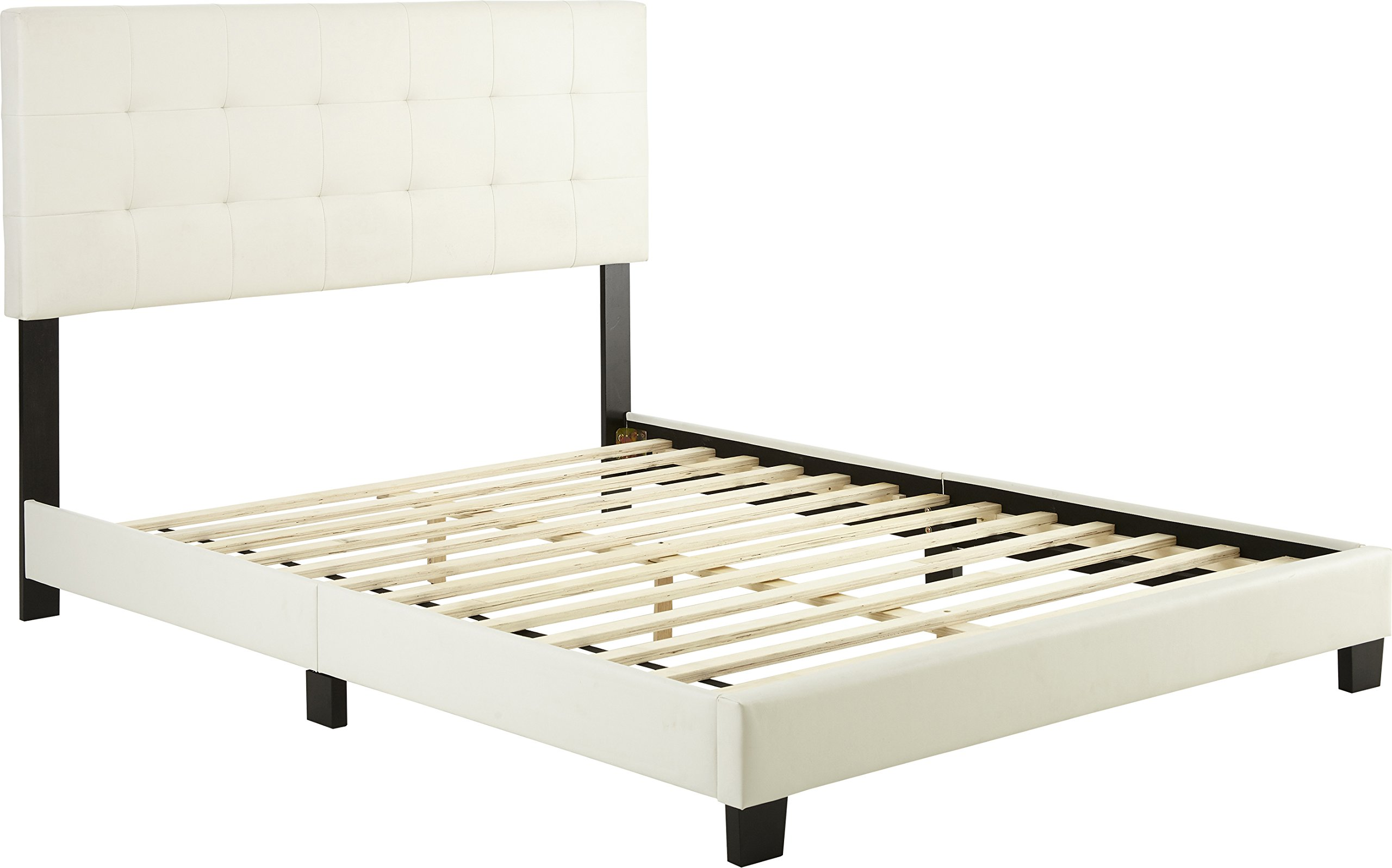 Flex Form Murphy Upholstered Platform Bed Frame with Tufted Headboard: Faux Leather, White, Full
