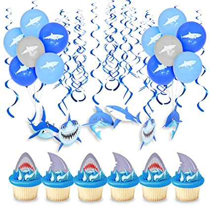 Blue Shark Party Supply For Birthday Balloons Hanging Decorations Child Favors Celebrations & Occasions Party Supplies