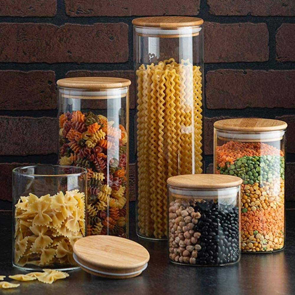 Amazon Com Canister Set Of 5 Glass Kitchen Canisters With Airtight Bamboo Lid Glass Storage Jars For Kitchen Bathroom And Pantry Organization Ideal For Flour Sugar Coffee Cookie Jar Candy Snack And More