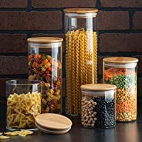 Canister Set of 5, Glass Kitchen Canisters with Airtight Bamboo Lid, Glass Storage Jars for Kitchen, Bathroom and Pantry…