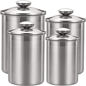 Suwimut 4 Pieces Kitchen Canister Set, Stainless Steel Counter Food Storage Containers with Glass Airtight Lids for Coffee, Tea, Sugar, Flour