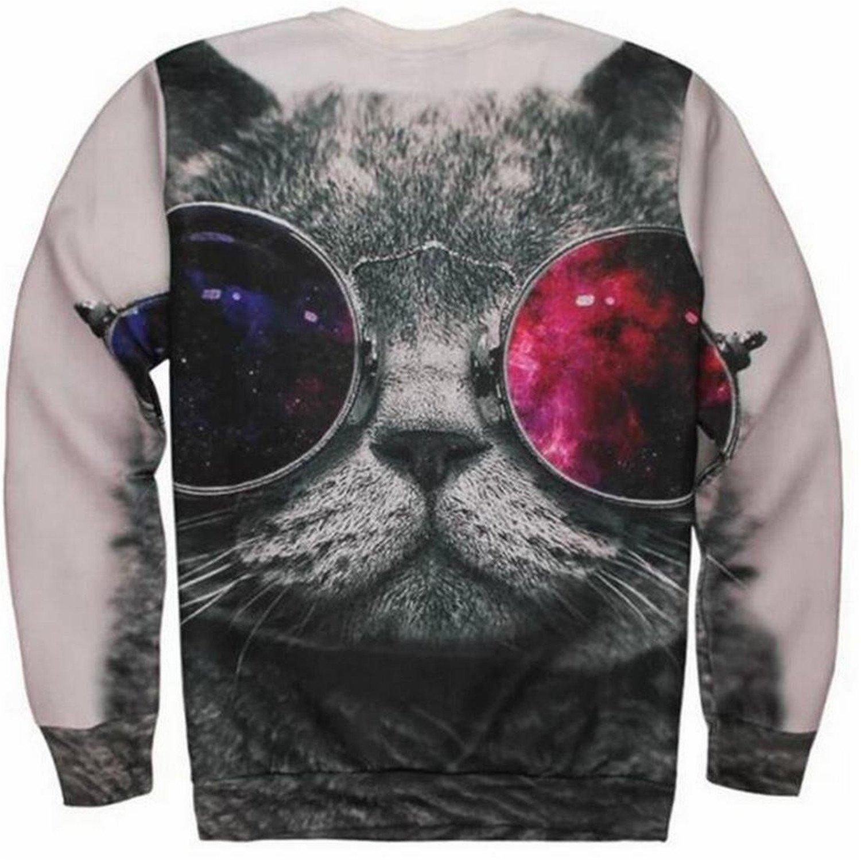 KDHJJOLY New Mens 3D Glasses Cat Print Longsleeve Pullover Sweater