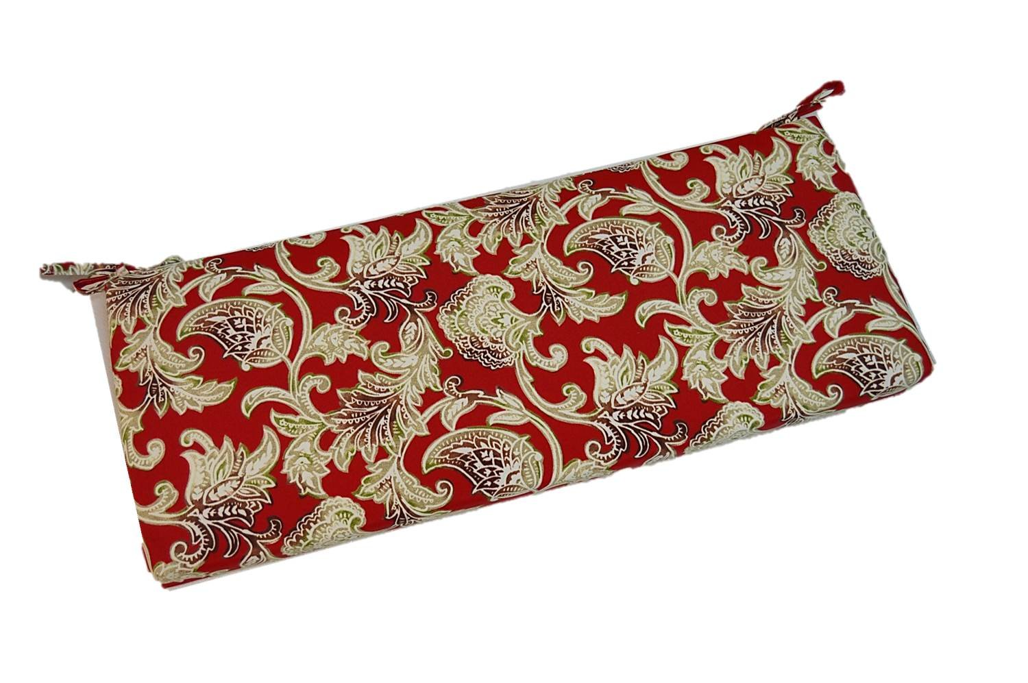 Red, Brown, Tan, Green Shabby Chic Vintage Paisley 2'' Thick Foam Swing / Bench / Glider Cushion with Ties and Zipper - Choose Size (38''w x 18''d)