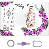 Milestone Blanket for Baby Girl, MCGMITT Floral Fleece Growth Chart Blankets Photography Background for Newborns with 2 Frame