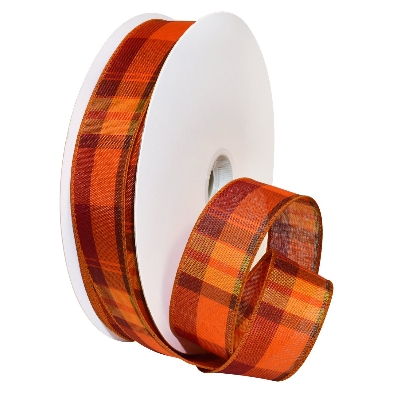 Morex Ribbon Autumn Hayride Plaid Wired Fabric Ribbon, Pumpkin, 2-1/2 In x 50-Yd Morex Corp. 7391.60/50-720