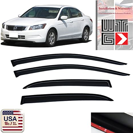 Amazon.com  VITO 4pcs Side Window Deflectors Original Window Visors For  2008 2009 2010 2011 2012 Honda Accord 4 Door Sedan Vent Visor Sun Rain  Guard  ... 77cccf4ca55