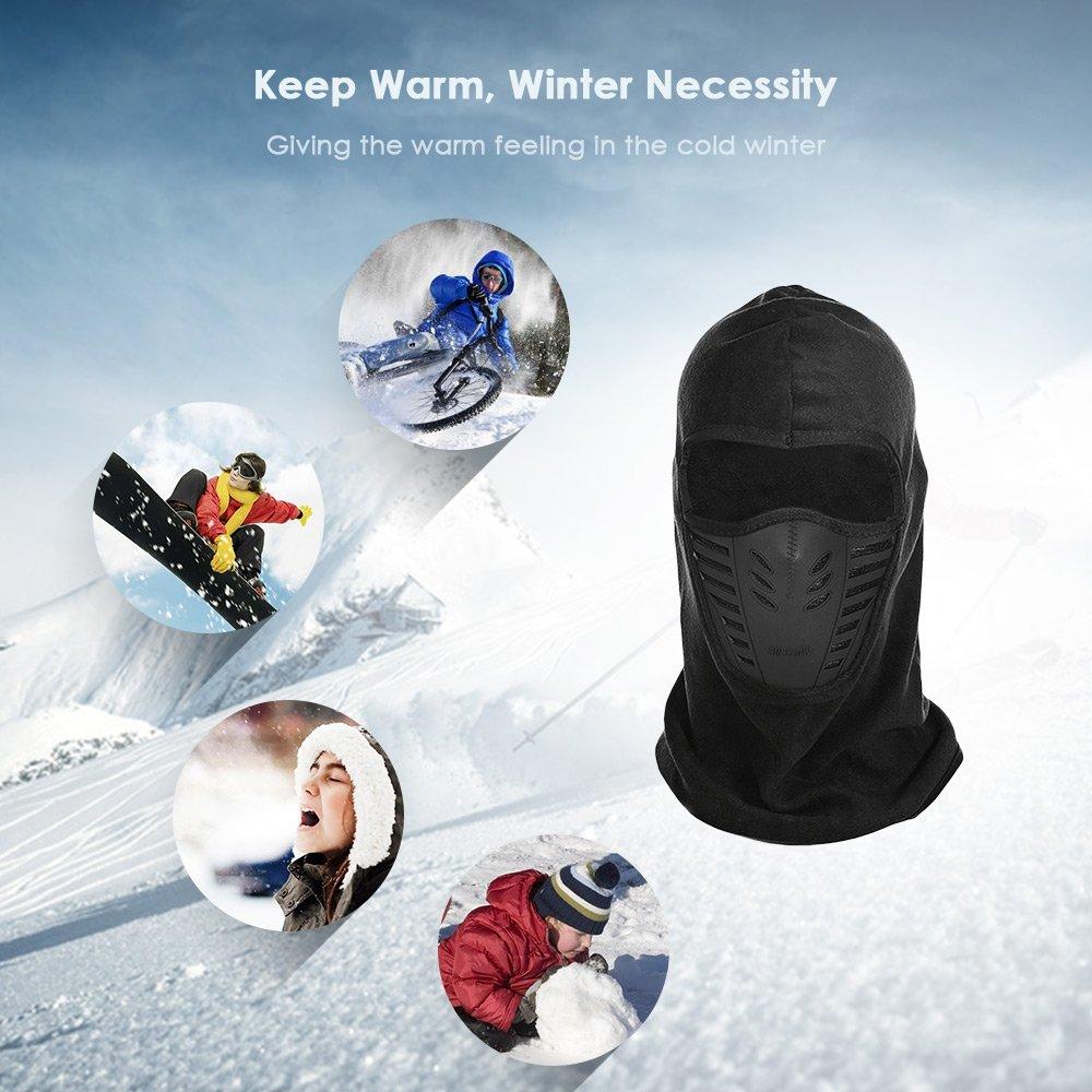 Negro Sombrero de Lana T/érmica Exterior de Invierno Gorro de Cuello a Prueba de Viento
