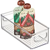 "mDesign Kitchen Organizer Bin for Food Storage, Condiment/Dressing Pouches - 10"" x 4"" x 3"", Clear"