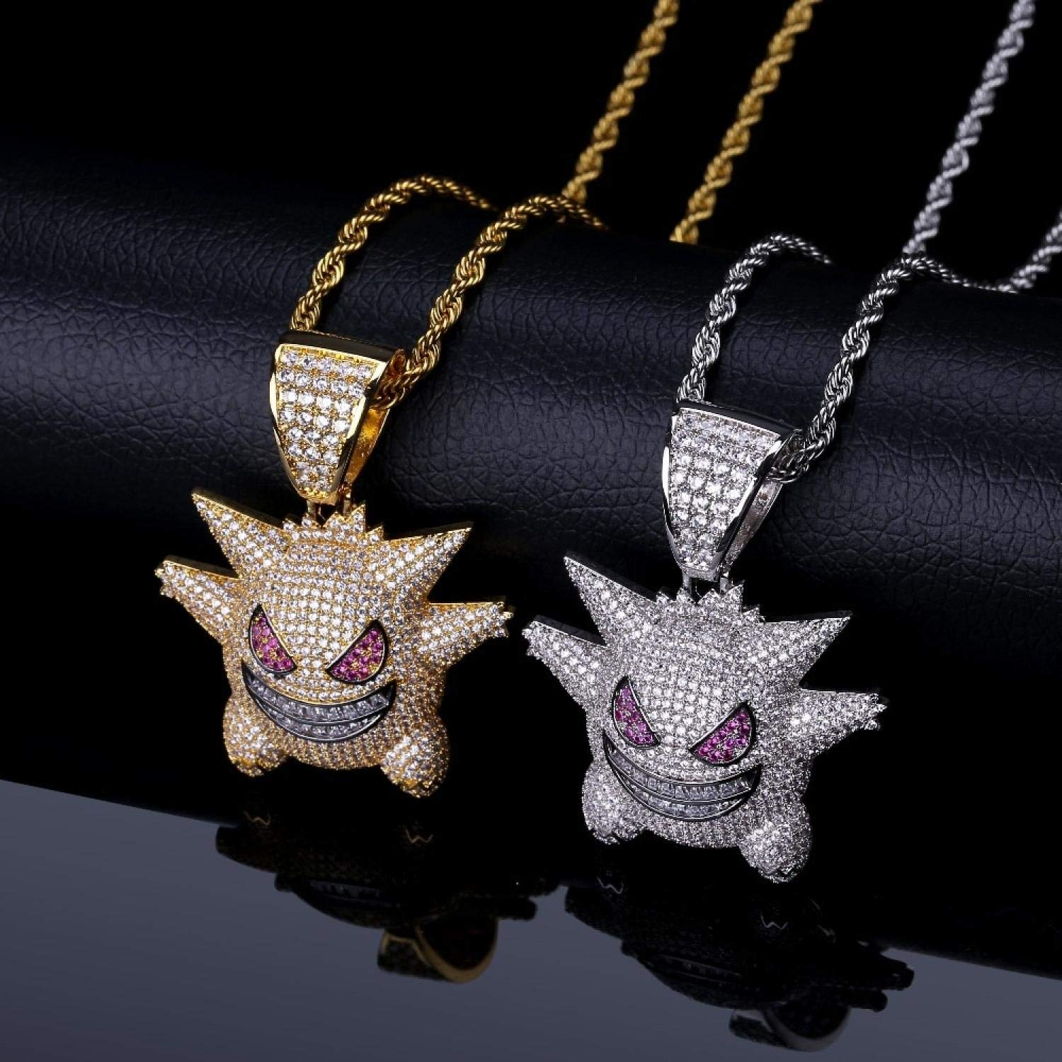 Michell Ivan Personalized Gengar Pendant Necklace Men with Tennis Chain Hip Hop//Punk Gold Silver Color Charms Chain Jewelry,Purple Chain