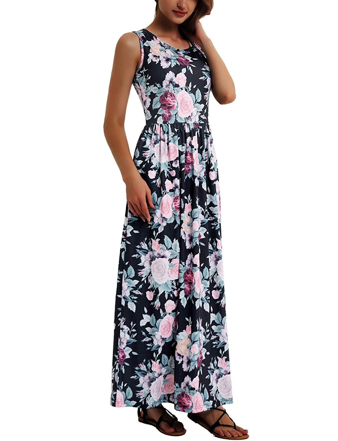 Black Pink Flower Women's Floral Maxi Dress Sleeveless Party Evening Long Dress with Pockets